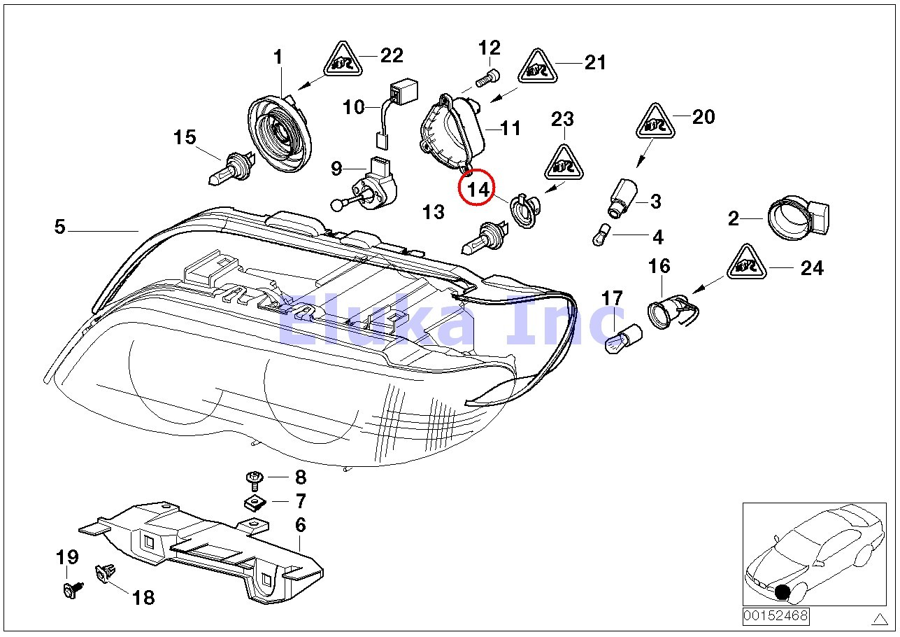bmw genuine bulb socket for h7 low beam headlight bulb e39