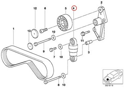 bmw genuine drive belt tensioner  c compressor belt e34